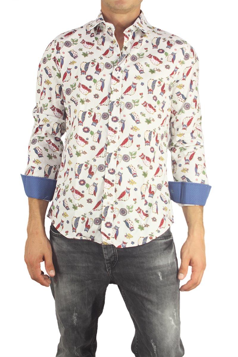 Missone ανδρικό πουκάμισο λευκό με κουκουβάγιες