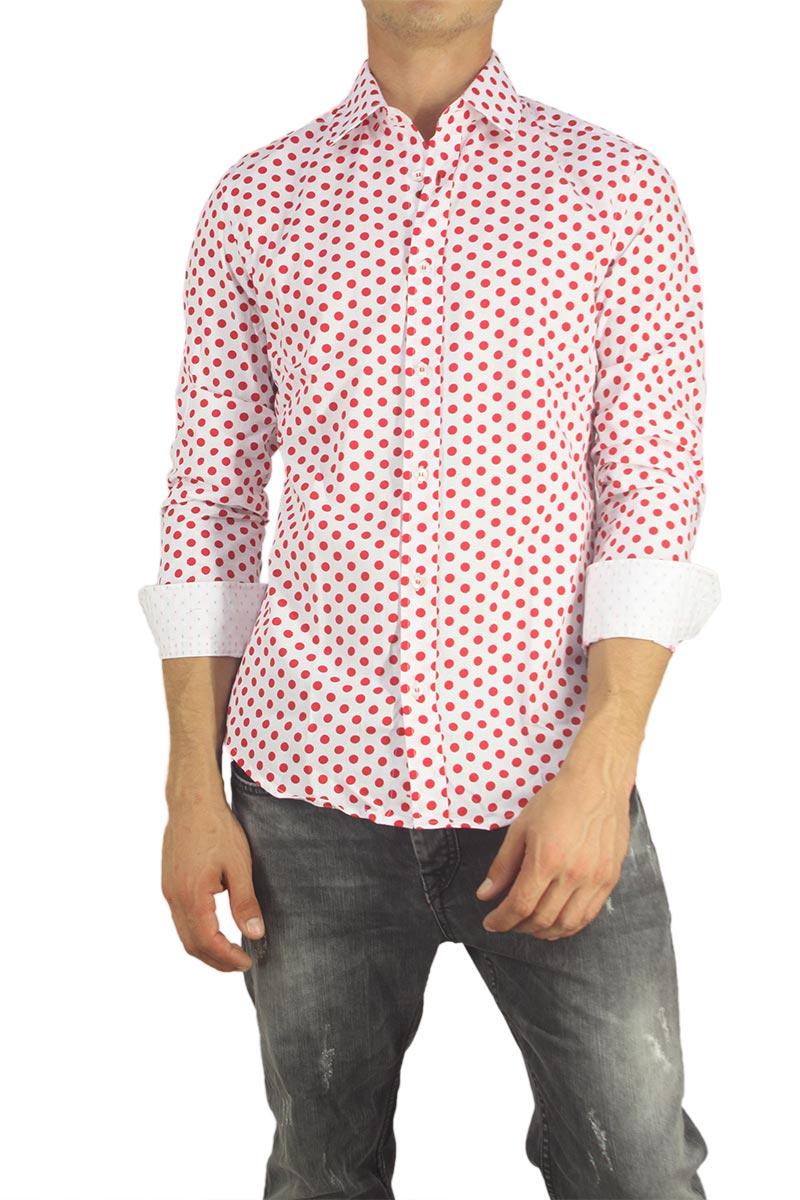 Missone ανδρικό πουκάμισο λευκό με κόκκινο πουά