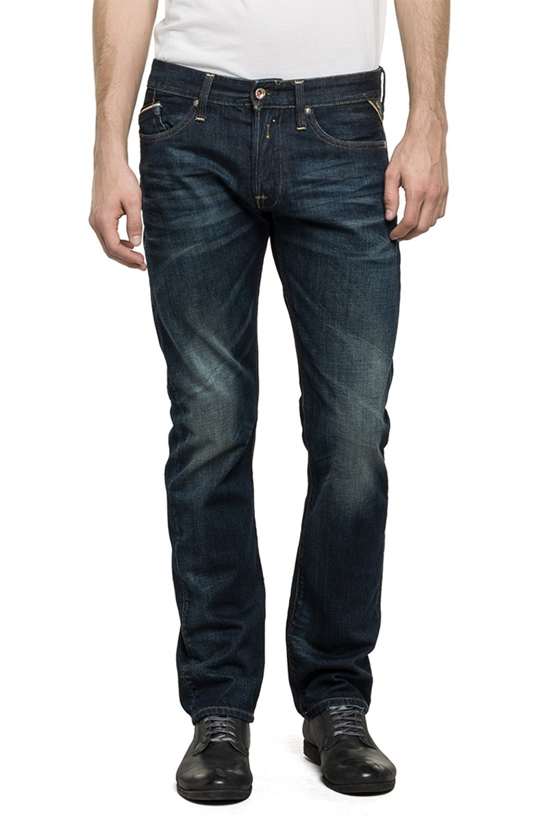 Replay ανδρικό Waitom regular slim fit jeans dark wash - m983-000-606300-007