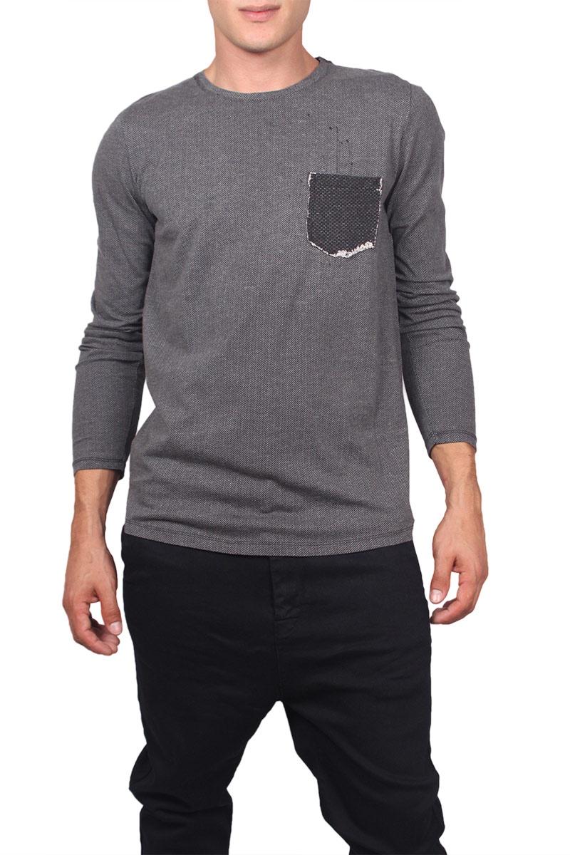 ad7624f25121 Ανδρική μακρυμάνικη μπλούζα γκρι-μαύρο ψαροκόκκαλο - w17083-over-gr
