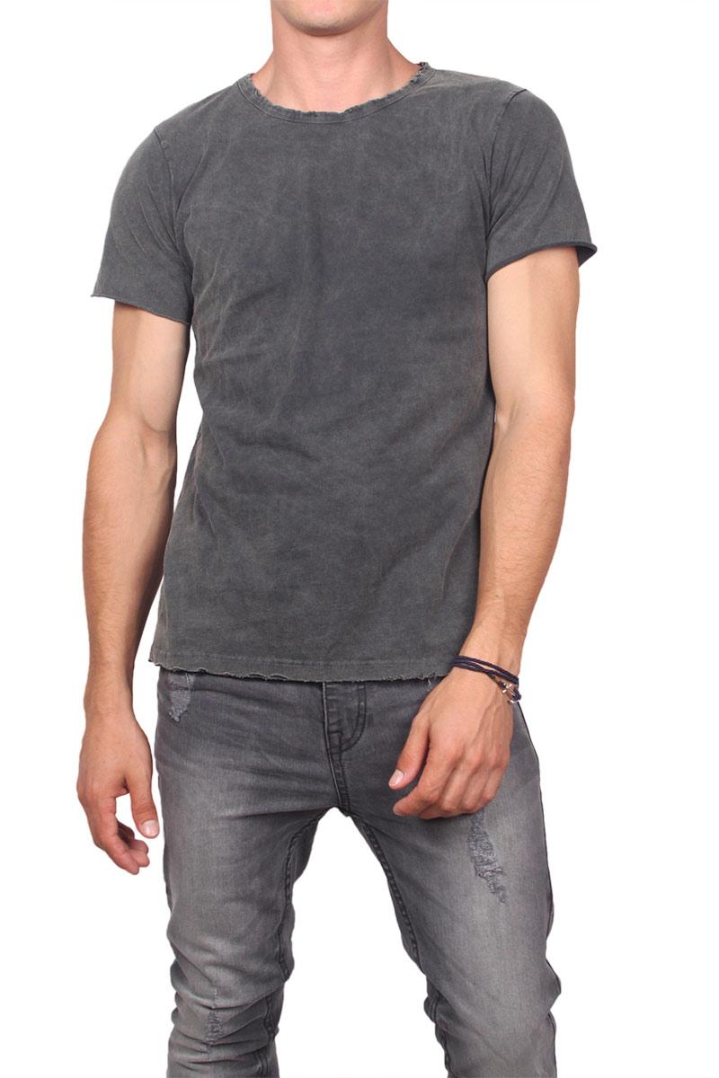 Ανδρικό raw cut t-shirt γκρι πετροπλυμένο ανδρικα   t shirts