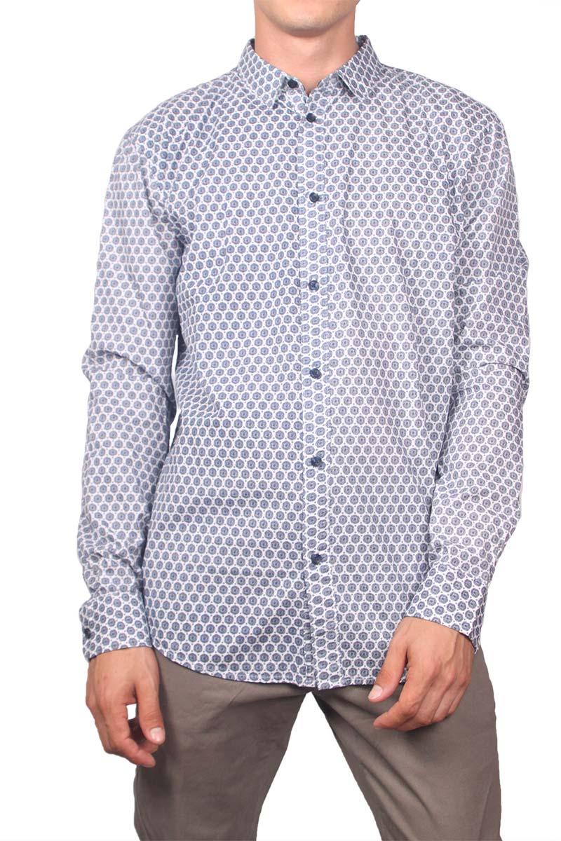 Anerkjendt ανδρικό πουκάμισο Gavian λευκό με μπλε πριντ