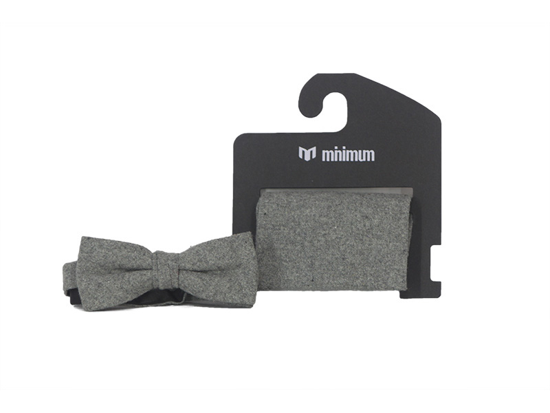 d70cb38e672 Minimum Bow tie and pocket square in grey melange