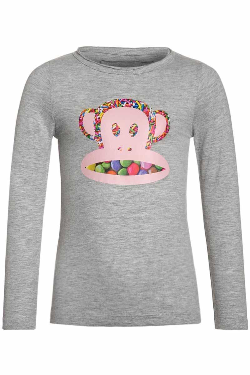 Paul Frank Candy face παιδική μακρυμάνικη μπλούζα για κορίτσια γκρι μελανζέ