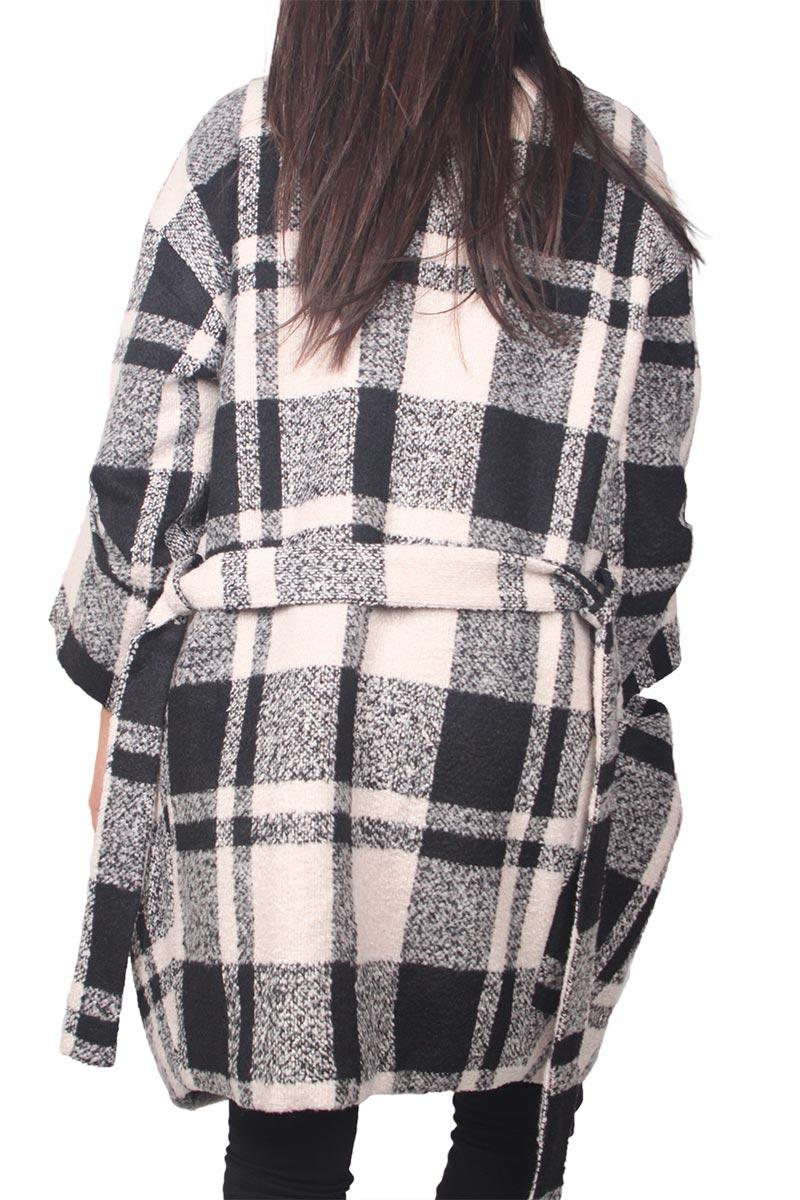 Ryujee Cindy oversized παλτό εκρού-μαύρο καρό