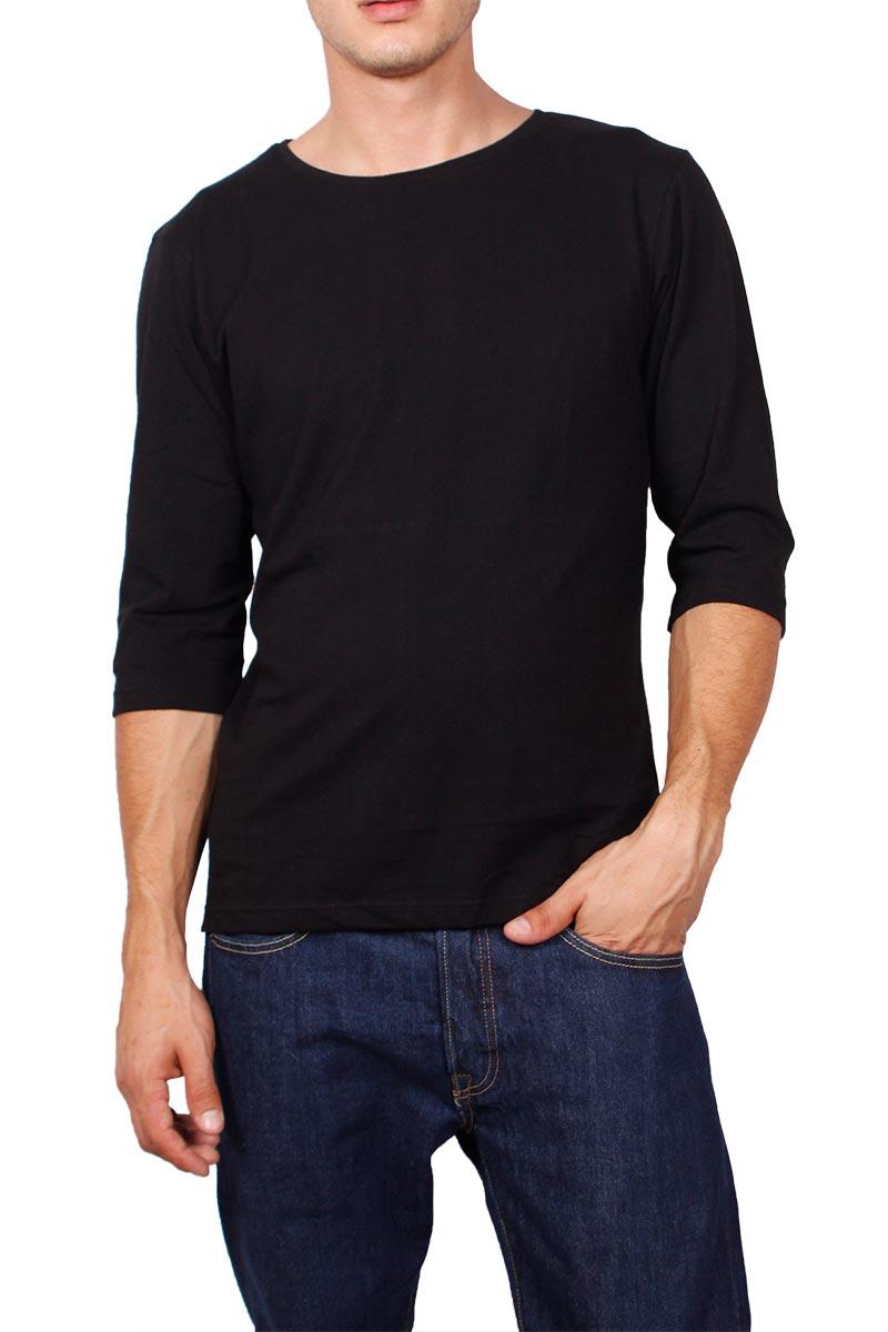 Ανδρική μπλούζα μαύρη με τρουακάρ μανίκια
