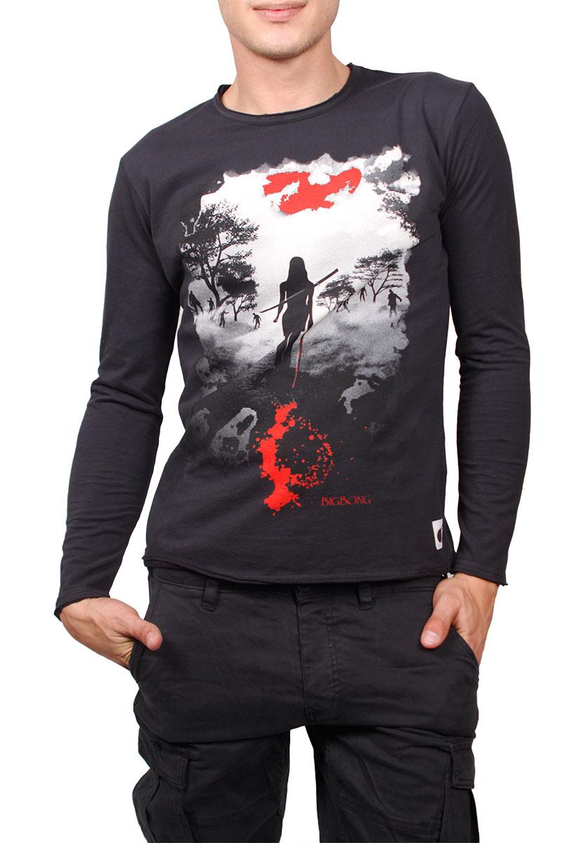 Bigbong μακρυμάνικη μπλούζα μαύρη με πριντ - a1-122-mm-blk