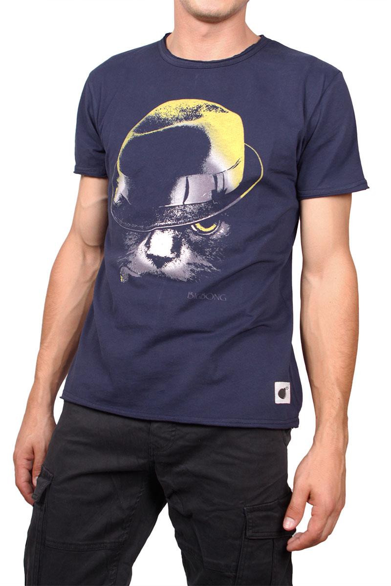 Bigbong T-shirt navy με στάμπα
