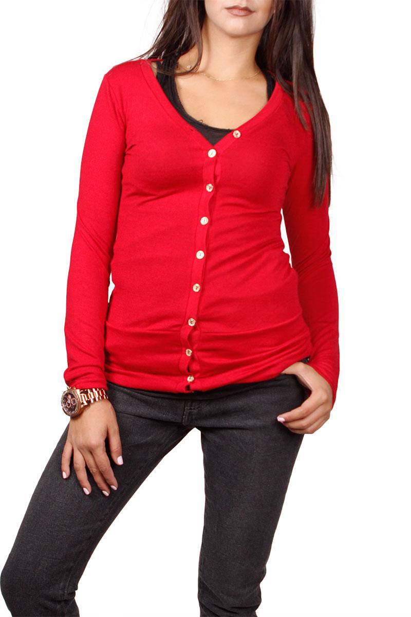 Γυναικεία εφαρμοστή πλεκτή ζακέτα κόκκινη με στρας