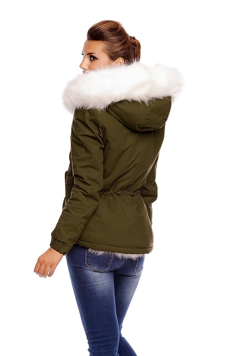 75e30b94949 Γυναικείο κοντό παρκά χακί με λευκή faux-γούνα