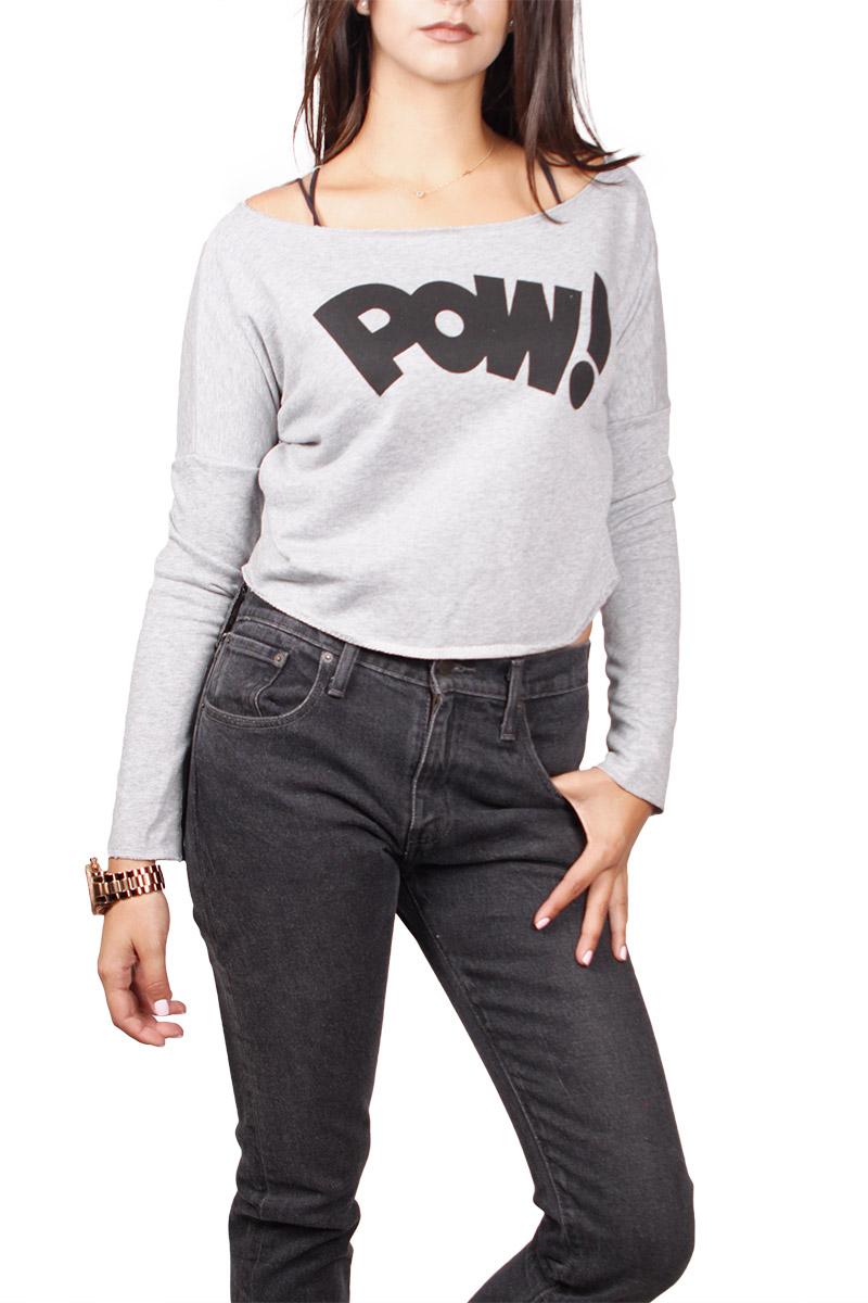 3e9e385d2d Migle + me crop μπλούζα φούτερ γκρι μελανζέ print Pow - la-pow