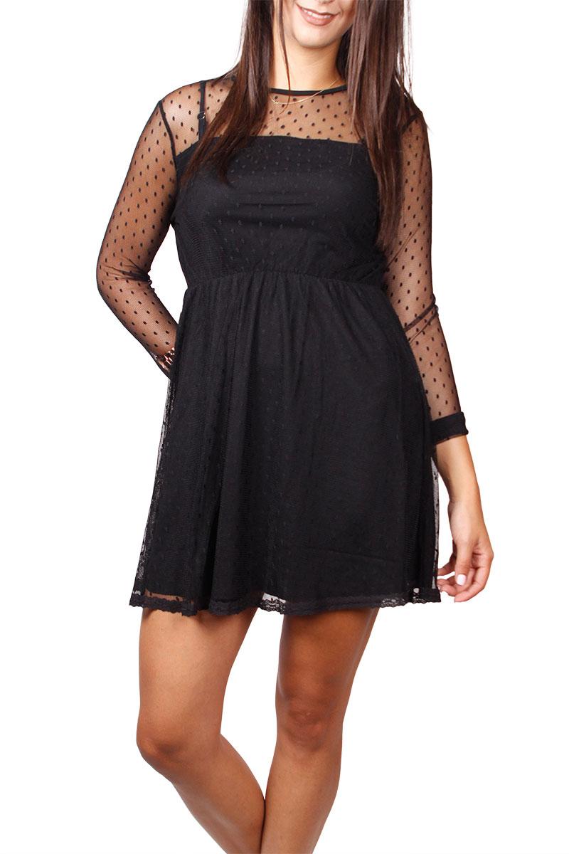 Ryujee Darel μαύρο φόρεμα με δίχτυ