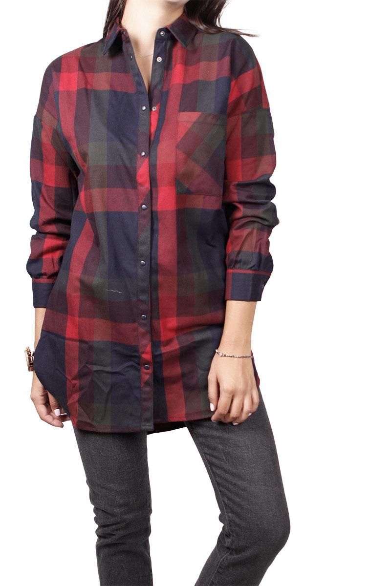 Soft Rebels Vega μακρύ πουκάμισο καρό μπλε-μπορντό - sr516-713-bor