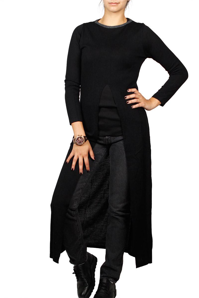 Agel Knitwear maxi τουνίκ με σκίσιμο σε μαύρο - w16714-blk
