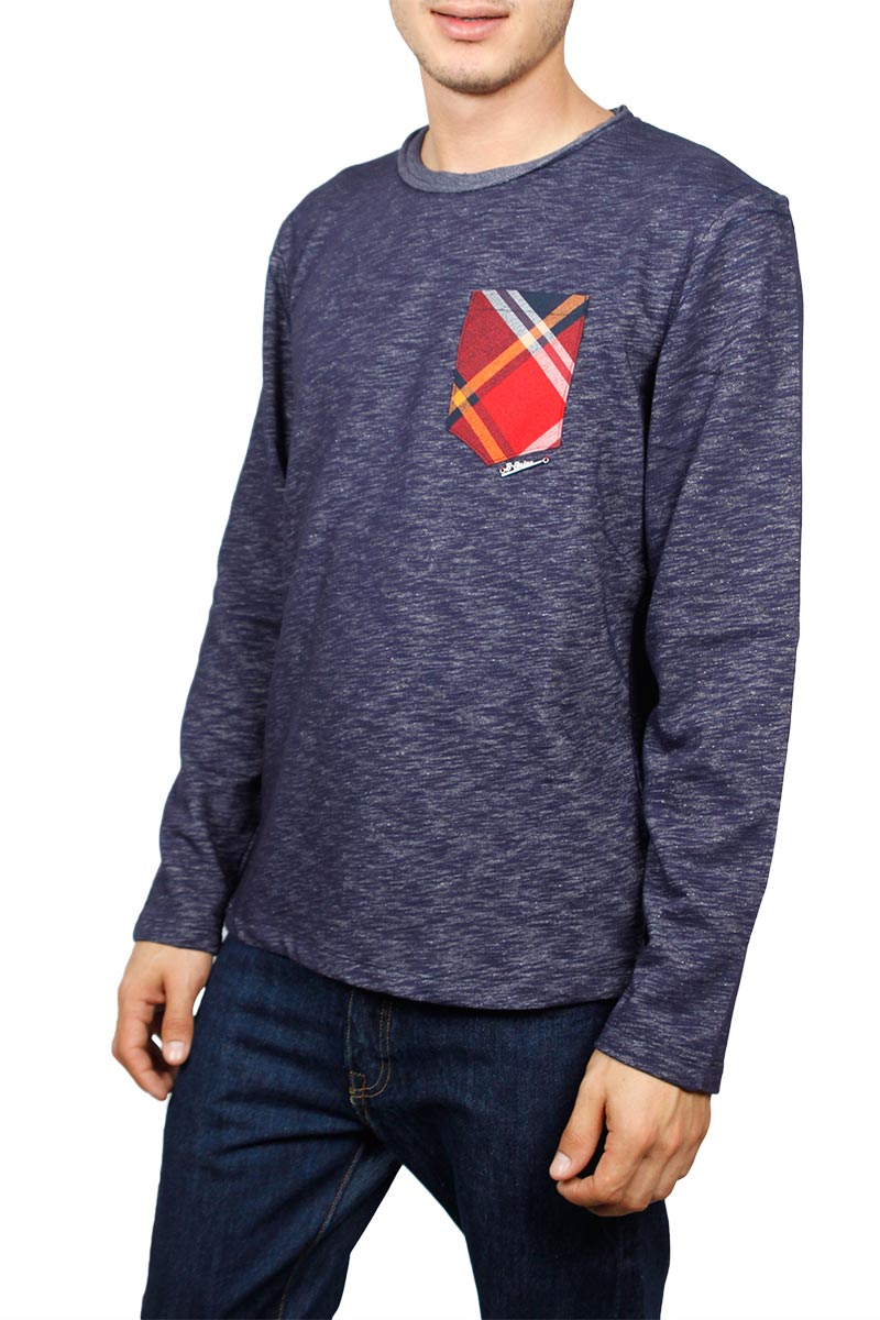 Ανδρική μακρυμάνικη μπλούζα navy μελανζέ με τσεπάκι - w17071-blaze-bl