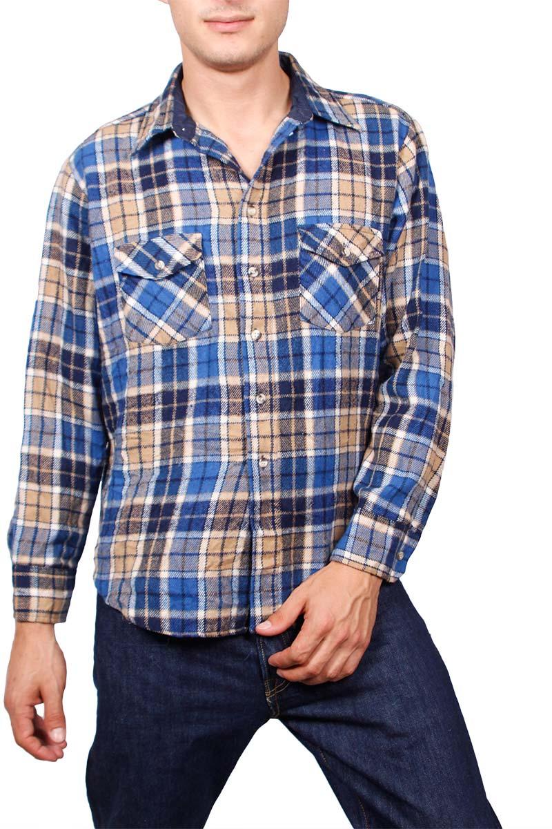 Vintage καρό πουκάμισο φανέλα μπλε-μπεζ - vgs-15490-bl