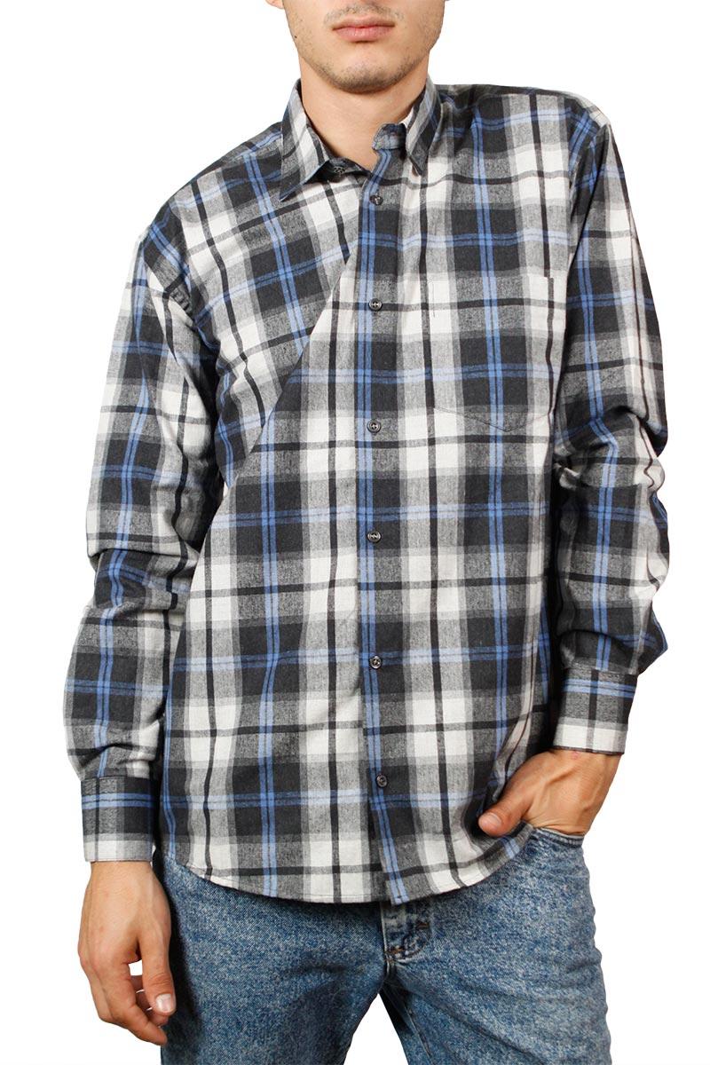9fb3d0c6e505 Ανδρικό μακρυμάνικο πουκάμισο φανέλα γκρι-μπλε καρό