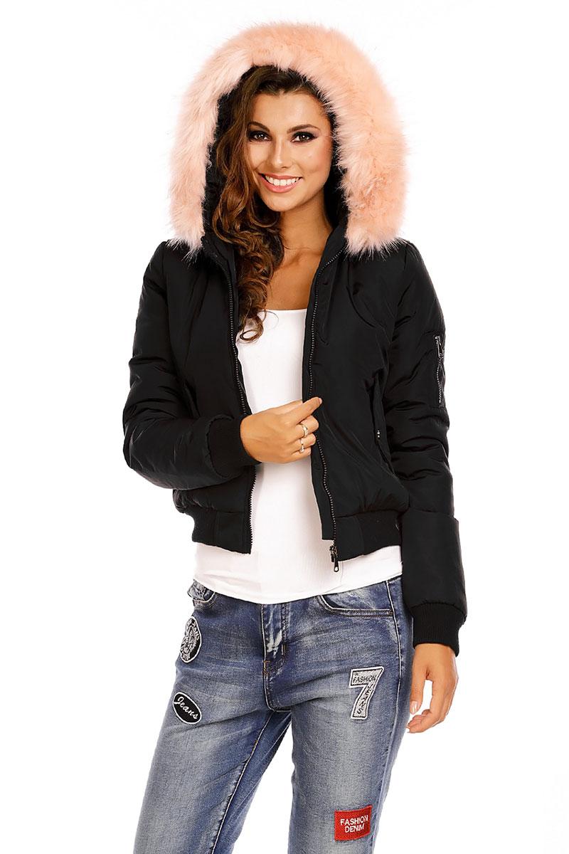 Επενδυμένο bomber jacket μαύρο με ροζ γούνα στην κουκούλα fab1258e42d