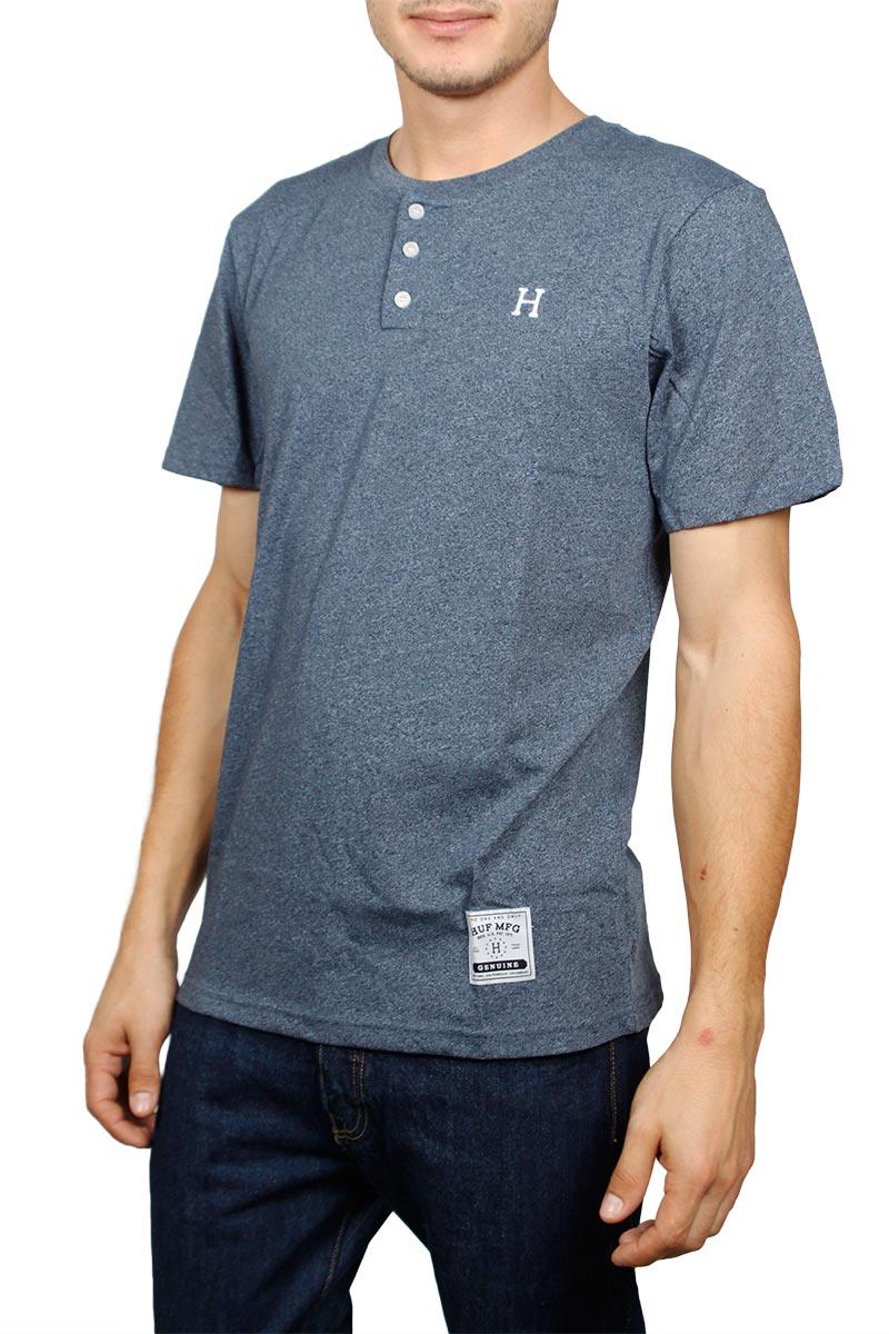 Huf Premium Heather Henley t-shirt navy μελανζέ