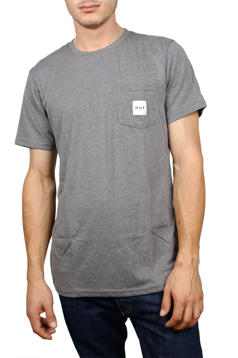 Huf box logo pocket t-shirt grey melange image