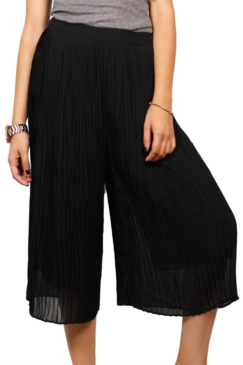 Minimum Marlea πλισέ ζιπ κιλότ μαύρη γυναικεια     παντελόνια