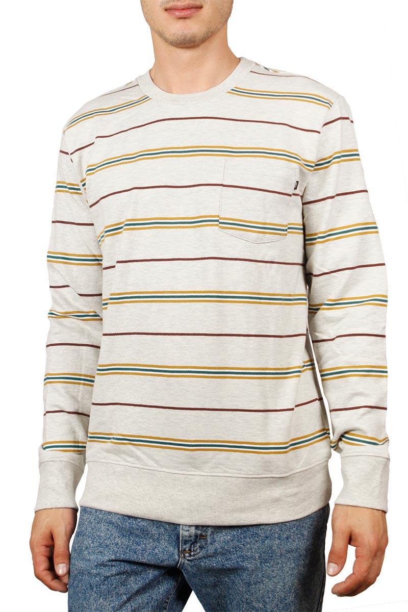 Obey Market φούτερ μπλούζα εκρού μελανζέ με τσεπάκι
