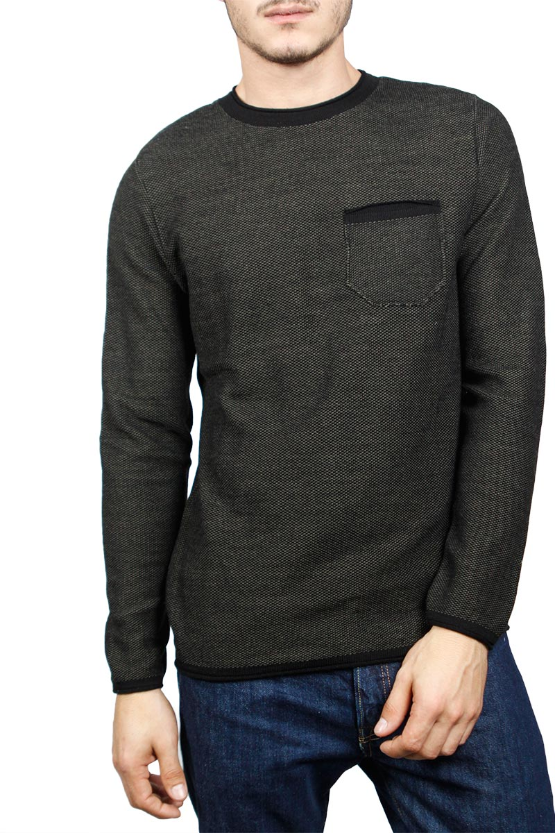 3PLAY ανδρική πλεκτή μπλούζα μελανζέ μαύρη-χακί