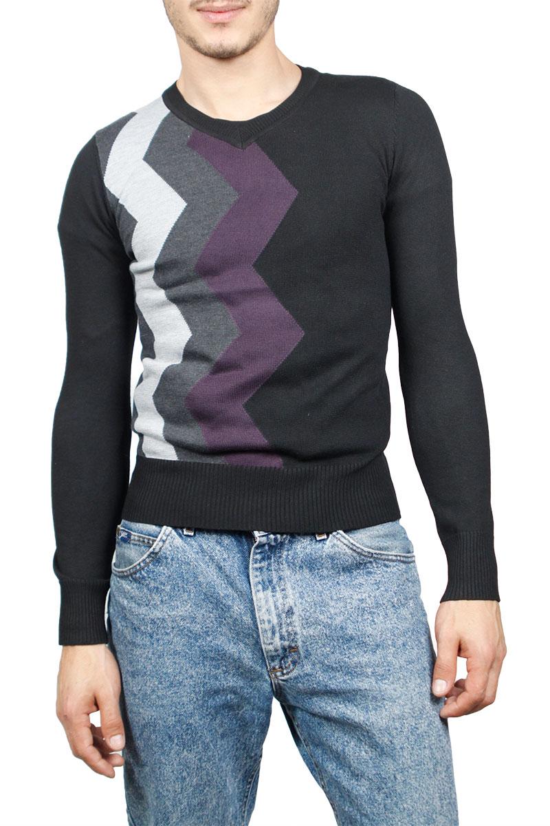 Ανδρικό λεπτό πουλόβερ μαύρο με τριχρωμία