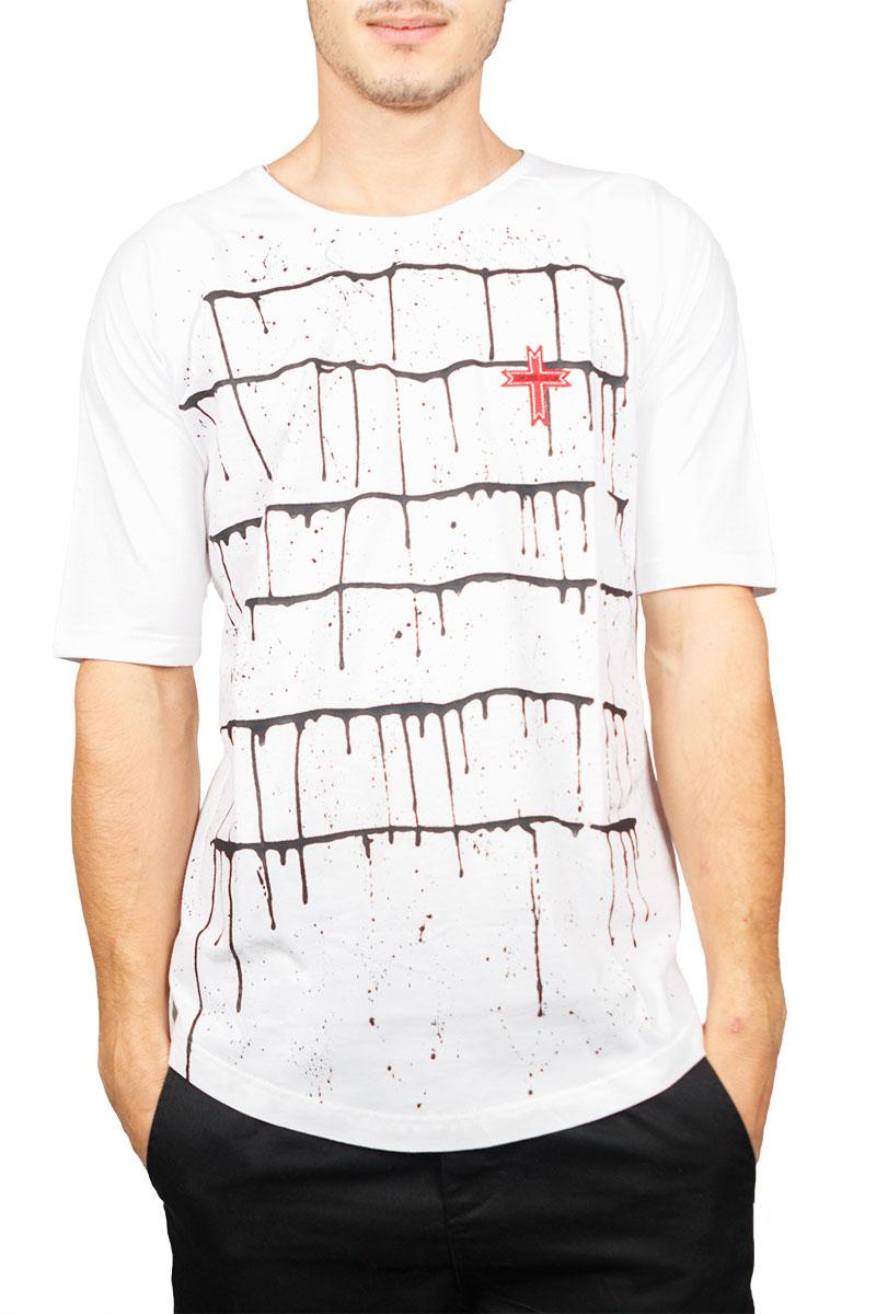 Crossover longline μπλούζα λευκή με πιτσιλιές ανδρικα   t shirts