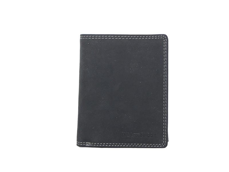 Hill Burry ανδρικό δερμάτινο κάθετο πορτοφόλι μαύρο με κοντράστ γαζιά - 8001-blk