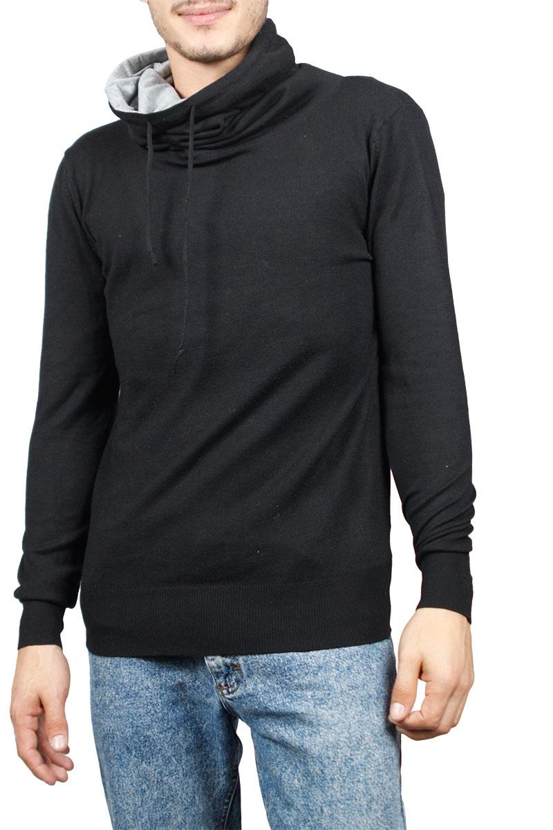 Ανδρική πλεκτή μπλούζα μαύρη