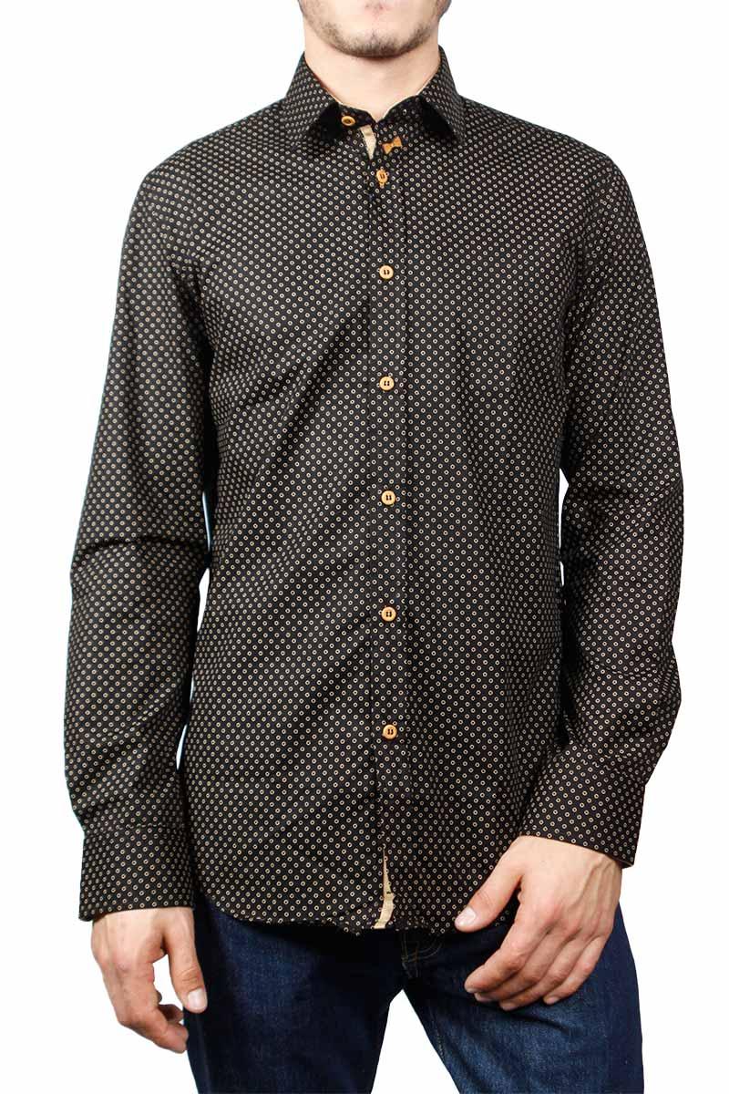 Missone ανδρικό πουκάμισο μαύρο με πριντ