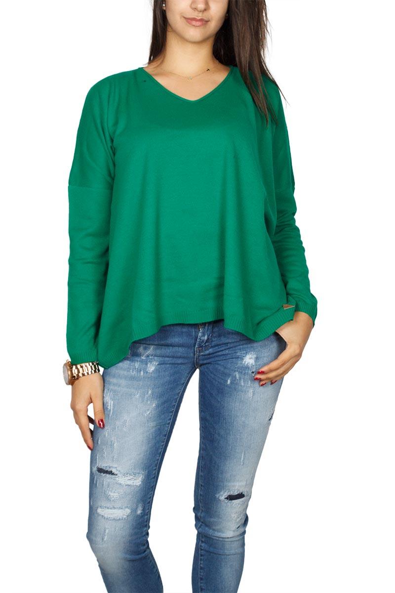 Agel Knitwear πλεκτή loose fit μπλούζα σκούρο πράσινο