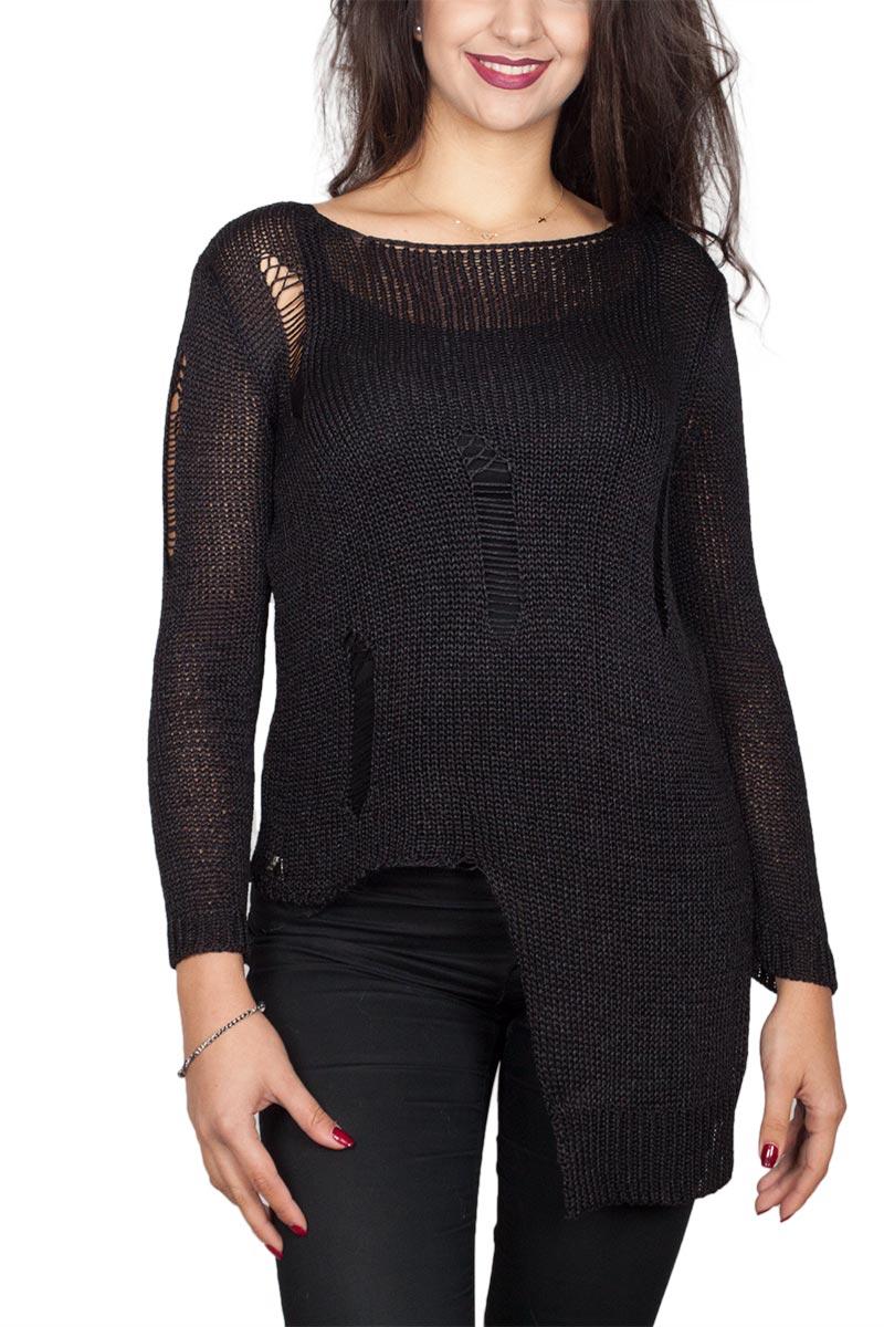 Agel Knitwear πλεκτή μπλούζα μαύρη - w16709-blk