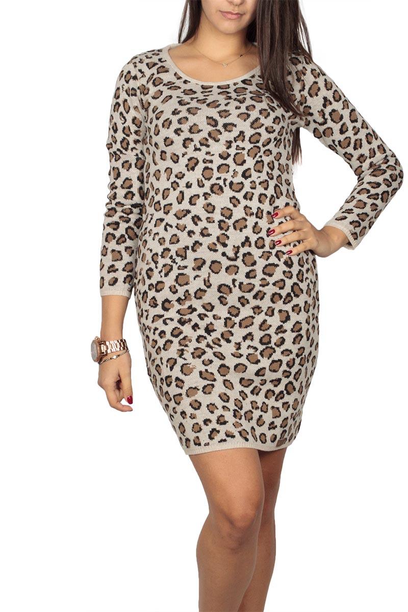Agel Knitwear πλεκτό μίνι φόρεμα λεοπάρ