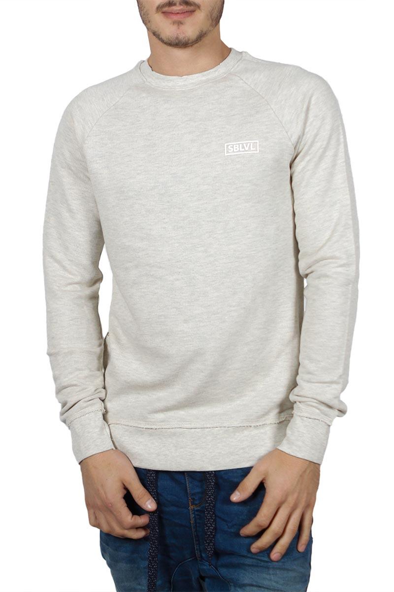 Ανδρική longline φούτερ μπλούζα εκρού μελανζέ