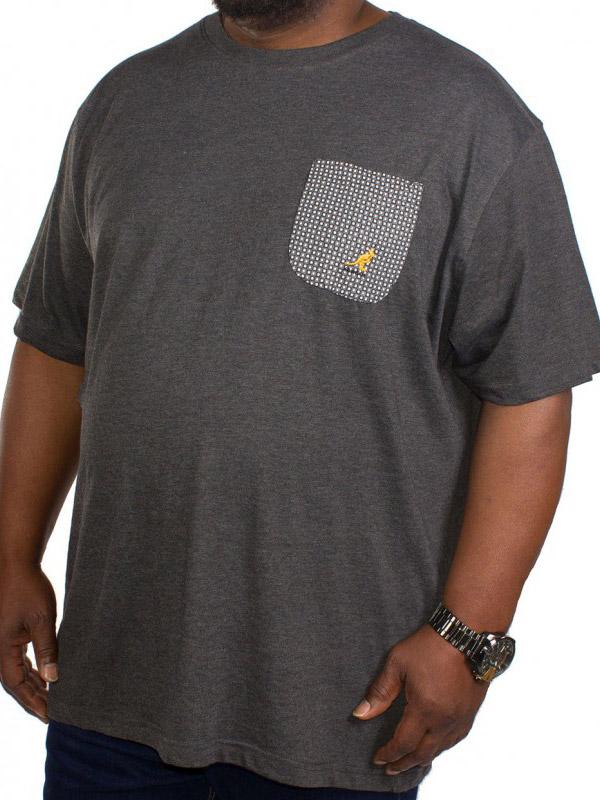 Big size Kangol Walle T-shirt μαύρο μελανζέ με τσεπάκι