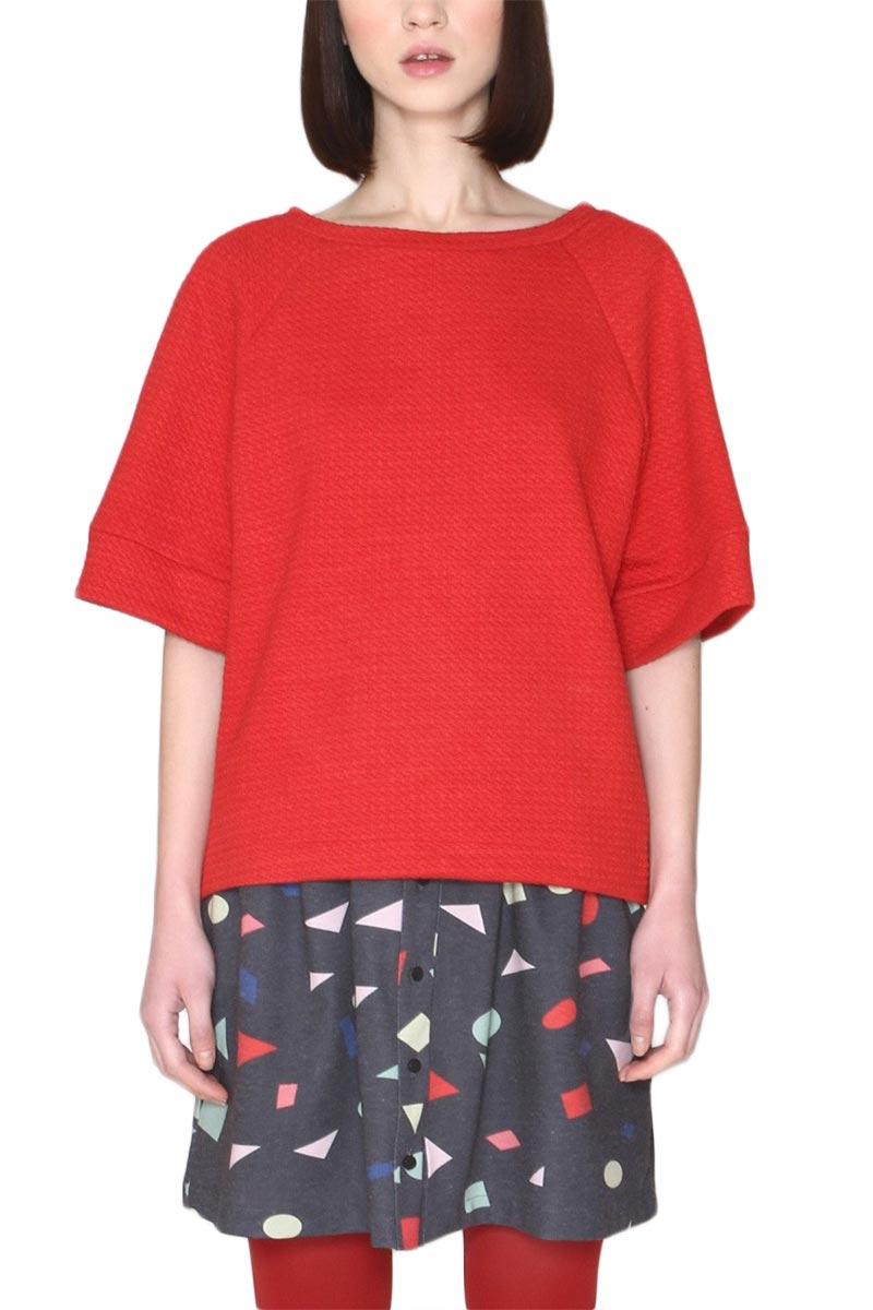 Pepaloves Ruth φούτερ μπλούζα κόκκινη με φαρδιά μανίκια