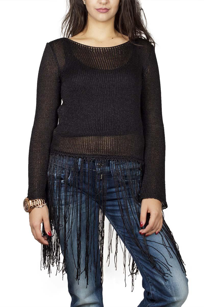 Agel Knitwear crop μπλούζα πλεκτή με κρόσια σε μαύρο
