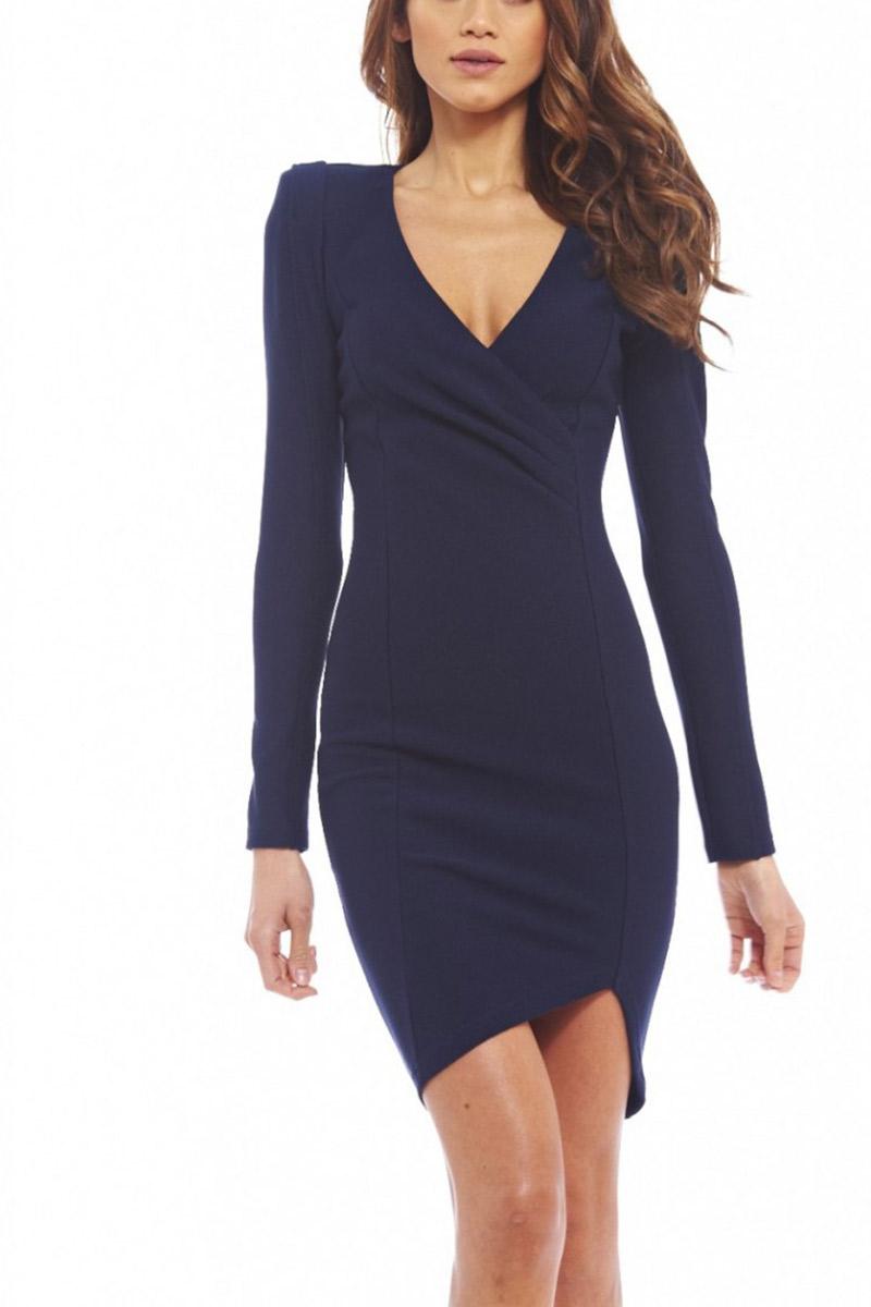 f59b89303aa1 Μακρυμάνικο κρουαζέ φόρεμα navy - d045-bl