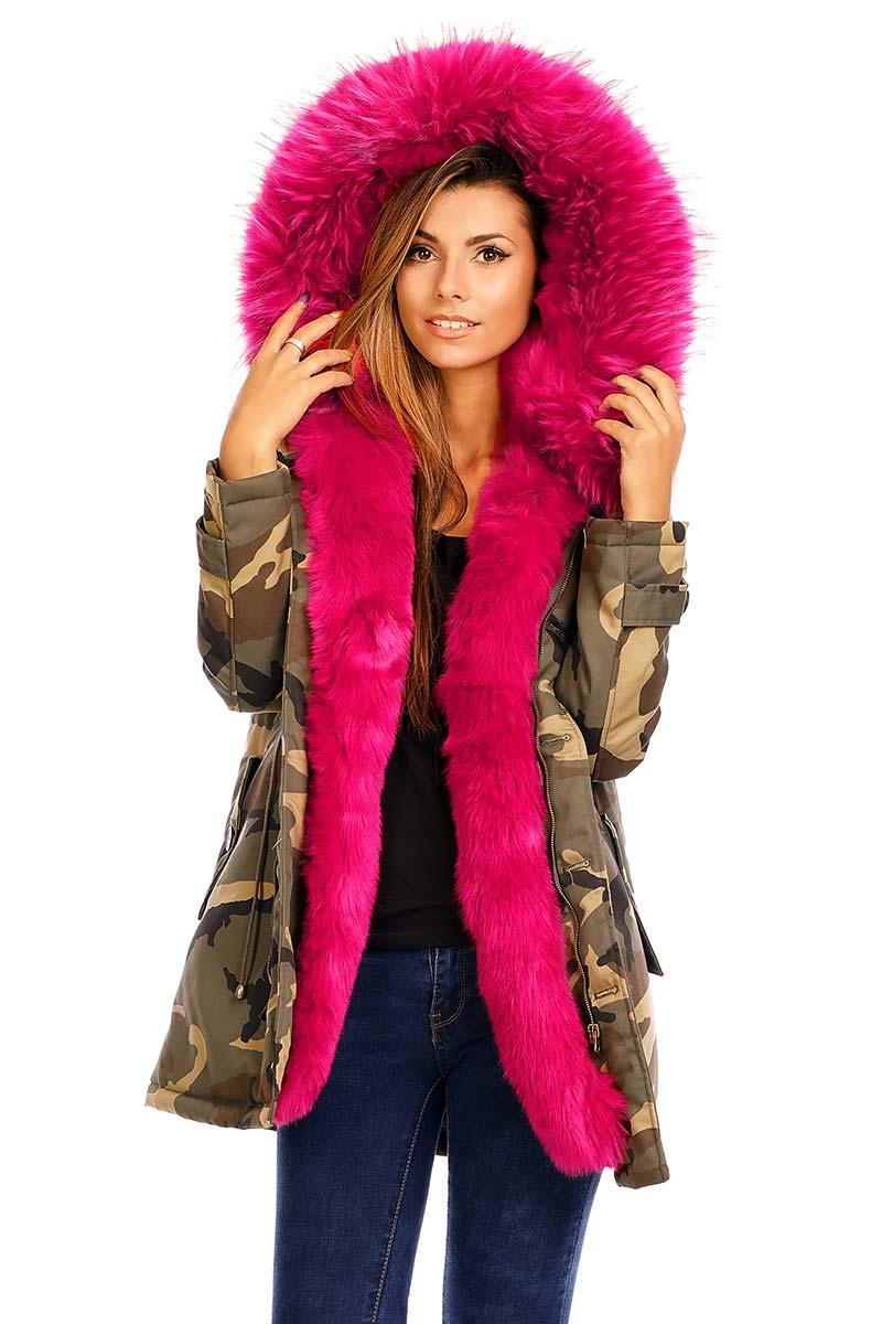 Παραλλαγής παρκά χακί με φούξια γούνα γυναικεια     μπουφάν