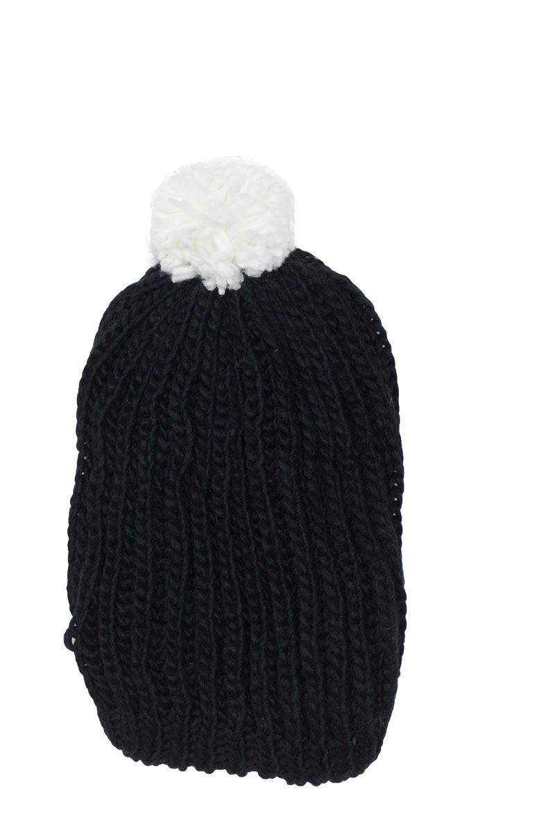 Μακρύ σκουφάκι μαύρο με λευκό πον πον - w15-37-wh