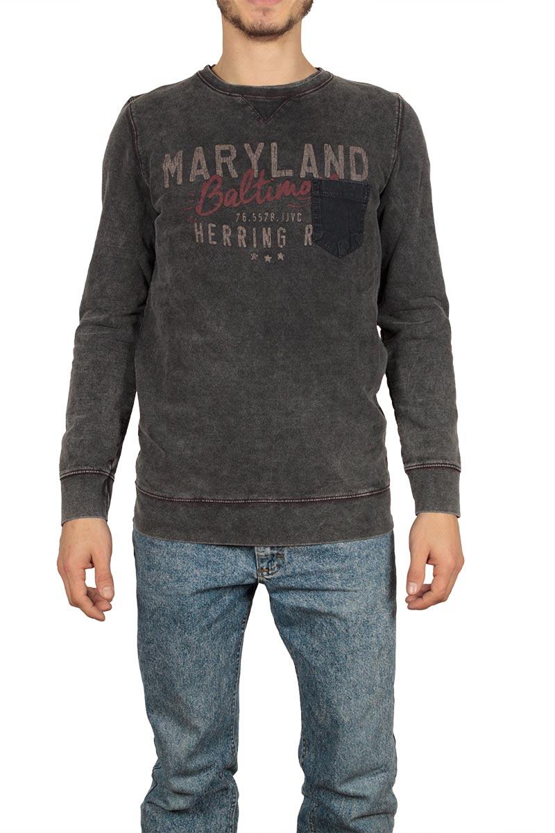 Φούτερ μπλούζα πετροπλυμένο γκρι με τσεπάκι - w17092-land-gr