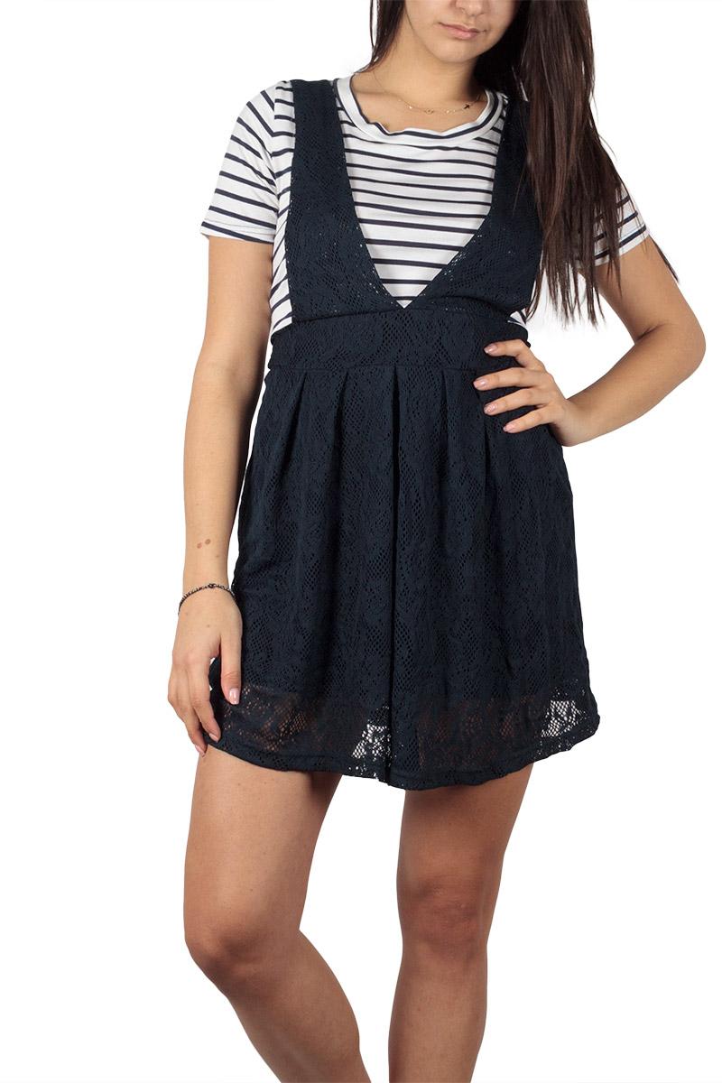Dahlia κοντομάνικο μίνι φόρεμα με δαντέλα