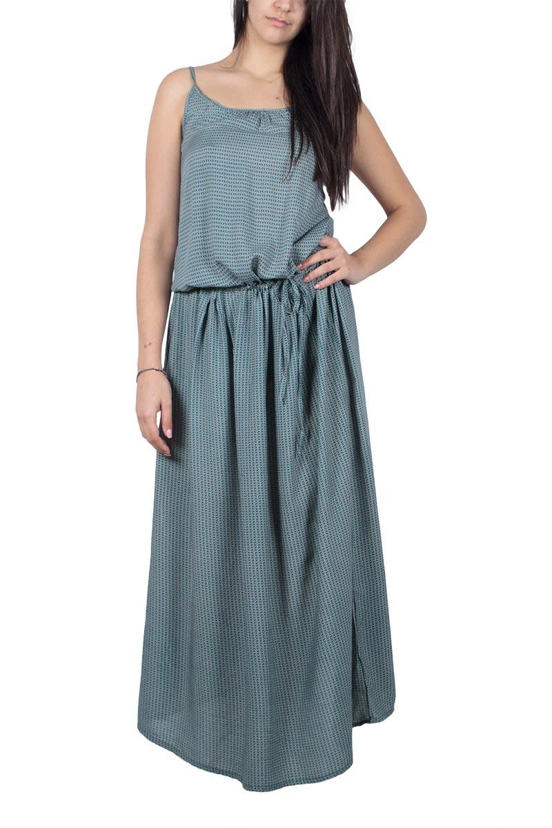 Τιραντέ μάξι φόρεμα πράσινο με σκίσιμο