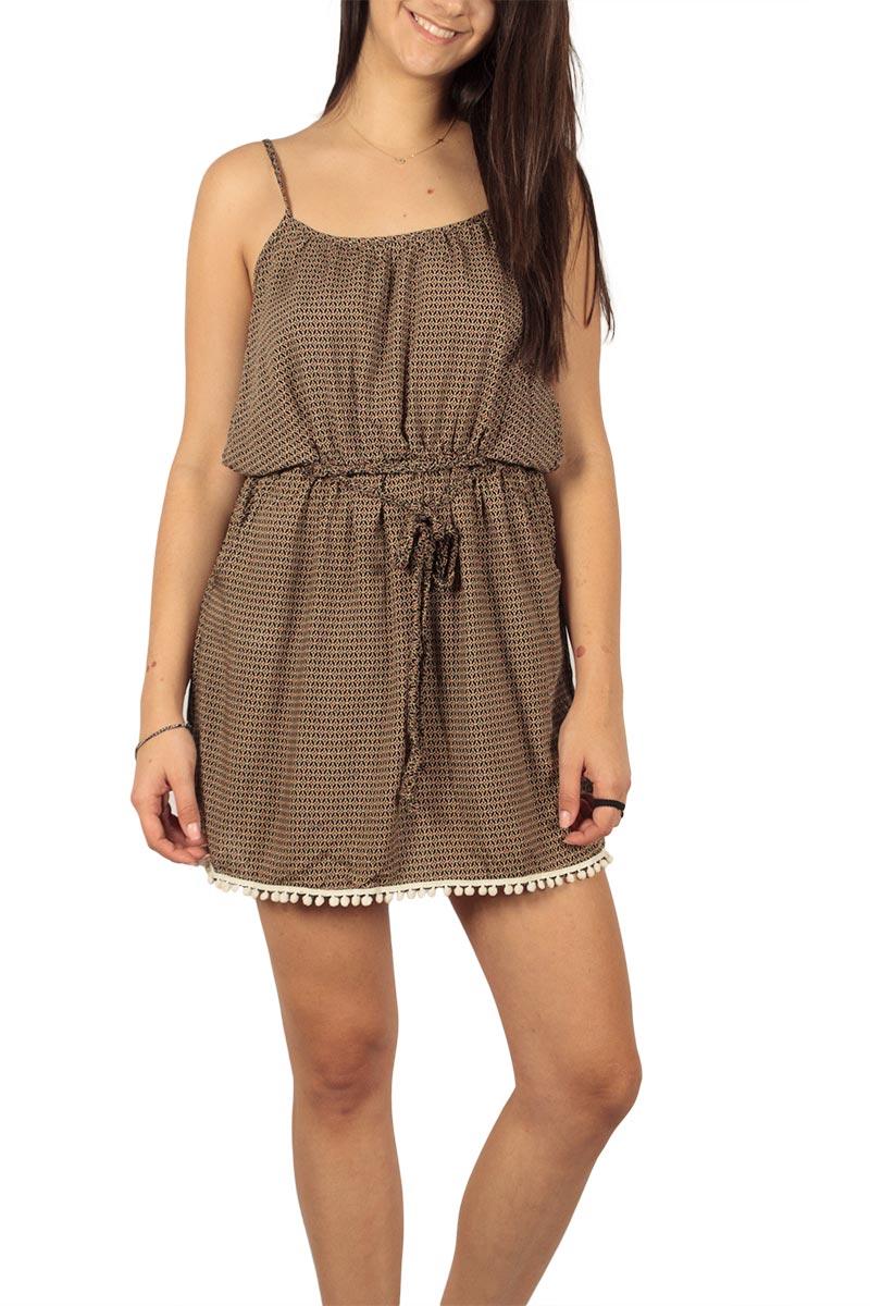 Τιραντέ μίνι φόρεμα με πον πον και καλειδοσκόπιο πριντ - ds-20083-bei