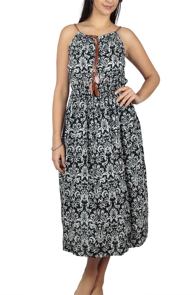 Ασπρόμαυρο μίντι φόρεμα με vintage πριντ