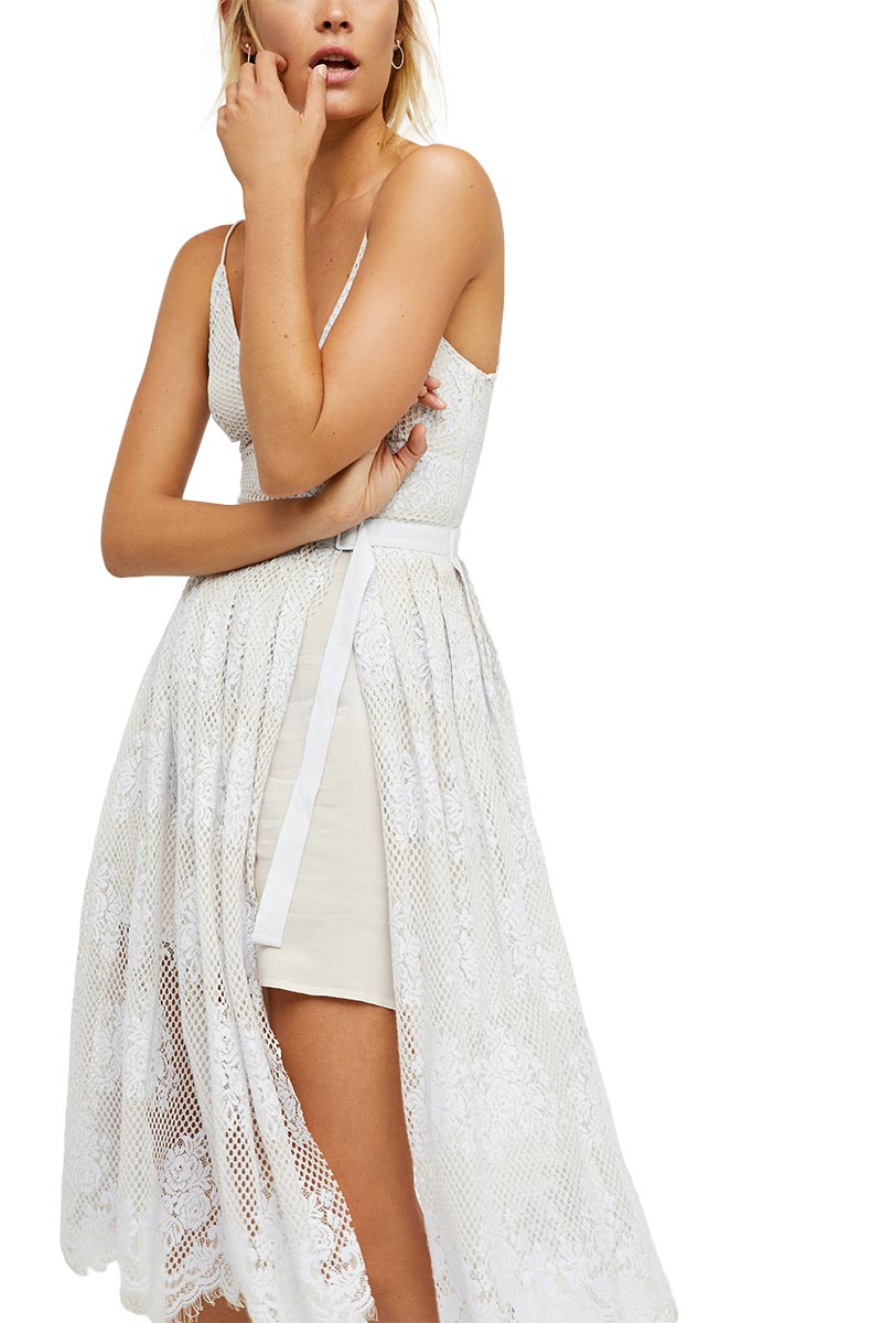 Free People Matchpoint τιραντέ μίντι φόρεμα δαντέλα ivory combo γυναικεια     φορέματα