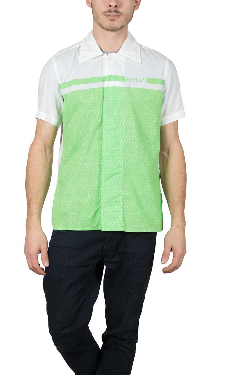 Replay ανδρικό κοντομάνικο πουκάμισο με λαχανί κοντράστ