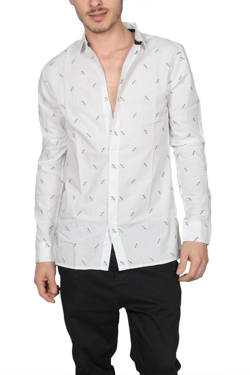 Anerkjendt πουκάμισο Louis λευκό με κεντημένα κουνούπια